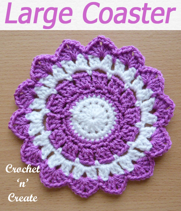 Protect your dining, coffee and side tables from scratches and marks with this free large crochet coaster pattern. CLICK and scroll down the page for the pattern. | #crochetcoaster #crochetdining #crochetforthehome #crochetmat #crochet #crochetncreate #crochetpattern #freecrochetpattern #easypattern #freepattern #forbeginners #diy #crafts #crochetaddict #followforcrochet