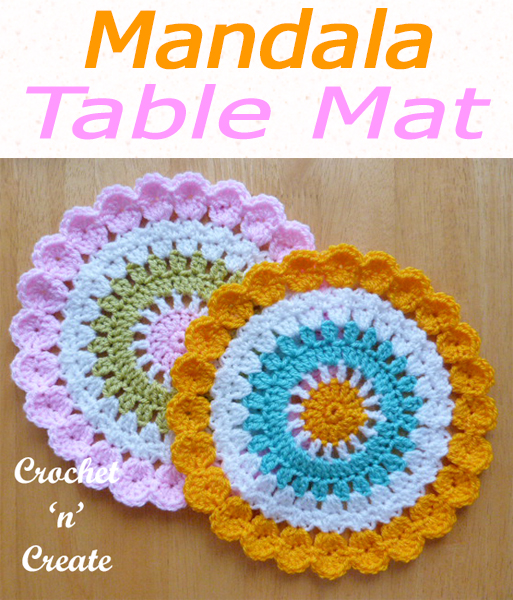 Use up your left over yarns for this mandala, a free crochet pattern which is finished with a flurry of shells, make for plant pot mats or use as a doily, using complimentary colors it looks stunning when made. CLICK and scroll down the page for the pattern. | #crochetdoily #crochetmandala #crochettablecentre #crochetncreate #crochet #howto #crochetpattern #freecrochetpattern #easypattern #freepattern #forbeginners #diy #crafts #crochetaddict #followforcrochet
