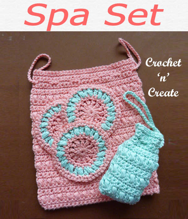 This free crochet spa set pattern is ideal for you to use on trips away etc. it contains a soap holder and face scrubby with a handy bag to put them in. CLICK and scroll down the page for the pattern. | #crochetspa #crochetbathroom #crochetncreate #crochet #howto #crochetpattern #freecrochetpattern #easypattern #freepattern #forbeginners #diy #crafts #crochetaddict #followforcrochet