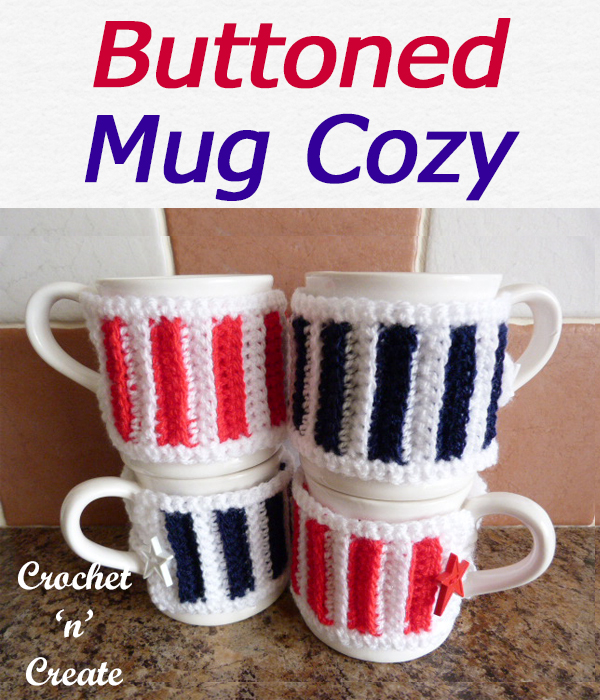 Free buttoned mug cosy crochet pattern, made in stripes but can be made in one color if you wish, easy back loop only stitch. CLICK and scroll down the page for the pattern. | #crochetforthehome #crochetmugwarmer #crochetmugcozy #crochetncreate #crochet #crochetpattern #freecrochetpattern #easypattern #freepattern #forbeginners #diy #crafts #crochetaddict #followforcrochet