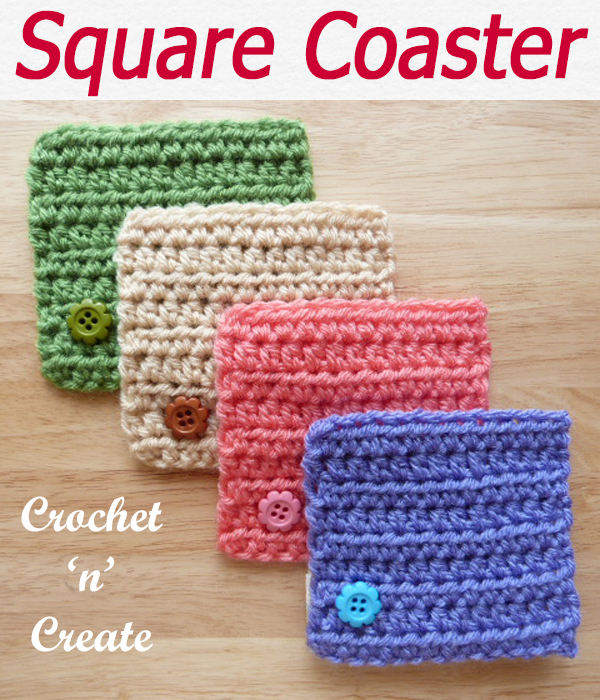 Simple square coaster designed for beginners crocheters in very easy stitch a free crochet pattern. CLICK and scroll down the page for the pattern. | #crochetforthehome #crochetcoaster #crochetdining #crochetncreate #crochet #crochetpattern #freecrochetpattern #easypattern #freepattern #forbeginners #diy #crafts #crochetaddict #followforcrochet