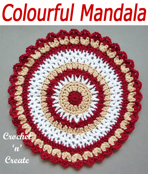 Made in a three color combination, this free crochet mandala pattern is crochet with a mixture of v-st, clusters and shells, use as a placemat or hang it up for decoration. CLICK and scroll down the page for the pattern. | #crochetdoily #crochetmandala #crochettablecentre #crochetncreate #crochet #howto #crochetpattern #freecrochetpattern #easypattern #freepattern #forbeginners #diy #crafts #crochetaddict #followforcrochet