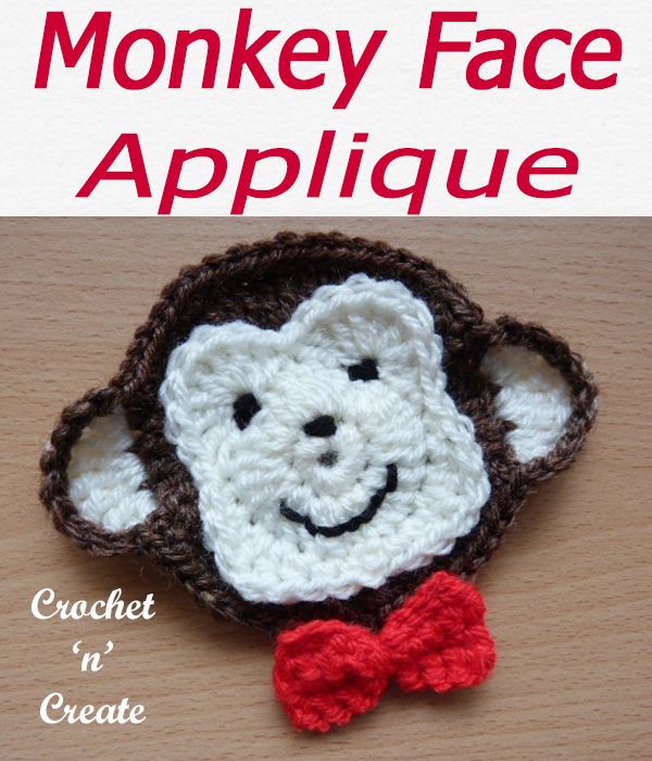 Cheeky monkey, cute monkey appliqué you can use on children's items, a free crochet pattern. #crochetncreate