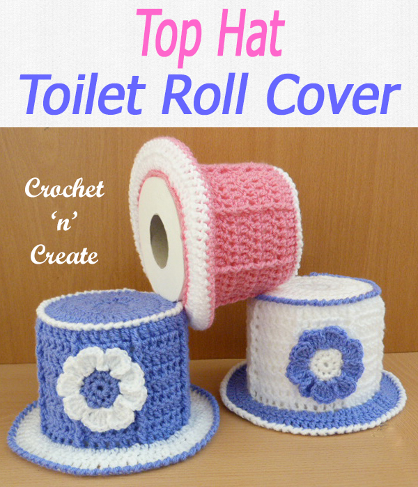 Add some fun to your bathroom with this top hat toilet roll cover, a free crochet pattern that is an easy diy project. CLICK and scroll down the page for the pattern. | #crochettpcovers #crochetbathroon #crochetncreate #crochet #howto #crochetpattern #freecrochetpattern #easypattern #freepattern #forbeginners #diy #crafts #crochetaddict #followforcrochet