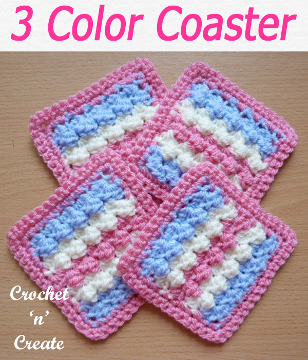 A quick project for a three color coaster, this free crochet pattern is made using a one row pattern. CLICK and scroll down the page for the pattern. | #crochetforthehome #crochetcoaster #crochetdining #crochetncreate #crochet #crochetpattern #freecrochetpattern #easypattern #freepattern #forbeginners #diy #crafts #crochetaddict #followforcrochet