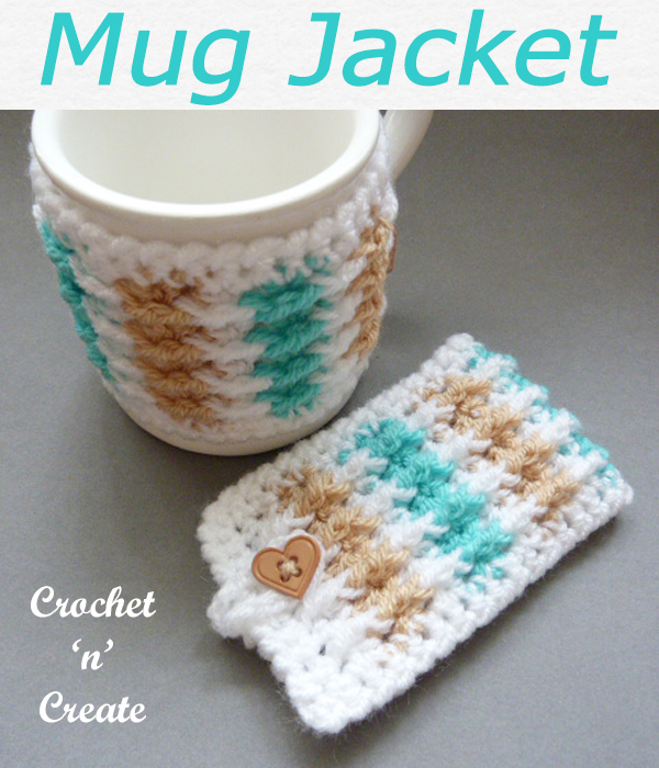 Multicolor mug jacket, fasten with a button, make a set to compliment all your mugs, free crochet pattern. CLICK and scroll down the page for the pattern. | #crochetmugcozy #crochetmugwarmer #crochetforthehome #crochetdining #crochet #crochetncreate #crochetpattern #freecrochetpattern #easypattern #freepattern #forbeginners #diy #crafts #crochetaddict #followforcrochet