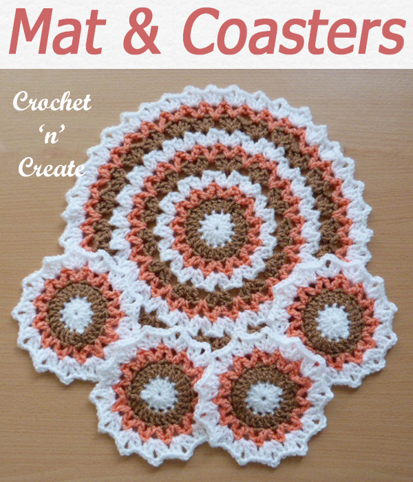 Pretty mat and coaster set, makes a lovely gift or item to sell, free crochet pattern from #crochetncreat. CLICK and scroll down the page for the pattern. | #crochetforthehome #crochetcoaster #crochetdining #crochet #crochetpattern #freecrochetpattern #easypattern #freepattern #forbeginners #diy #crafts #crochetaddict #followforcrochet