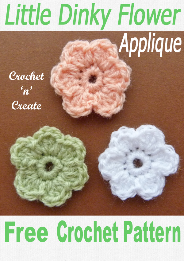Crochet dinky flower applique