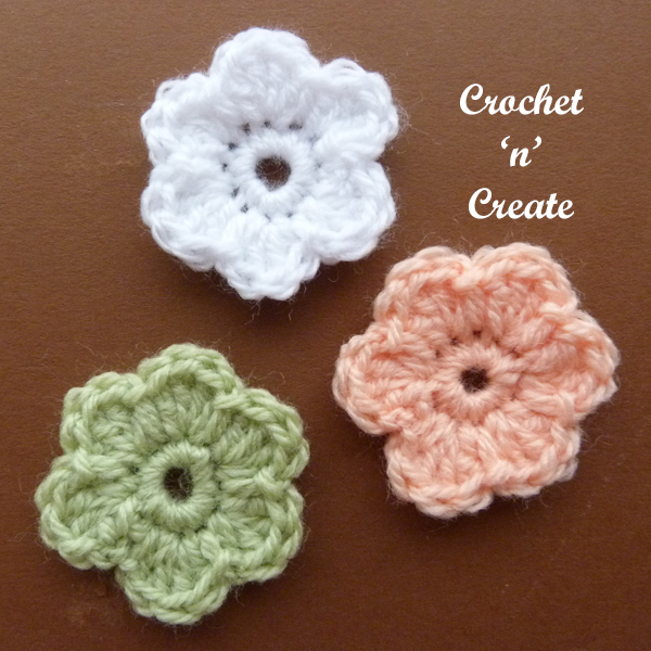 Crochet dinky flower applique1