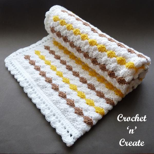 Crochet shell stroller blanket