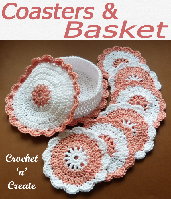 Beautiful gift idea, a free crochet pattern for coasters and a basket to put them in, pretty enough to leave in your dining table when not in use. CLICK and scroll down the page for the pattern. | #crochetbasket #crochetcoaster #crochetmat #crochetdining #crochetforthehome #crochetmat #crochet #crochetncreate #crochetpattern #freecrochetpattern #easypattern #freepattern #forbeginners #diy #crafts #crochetaddict #followforcrochet