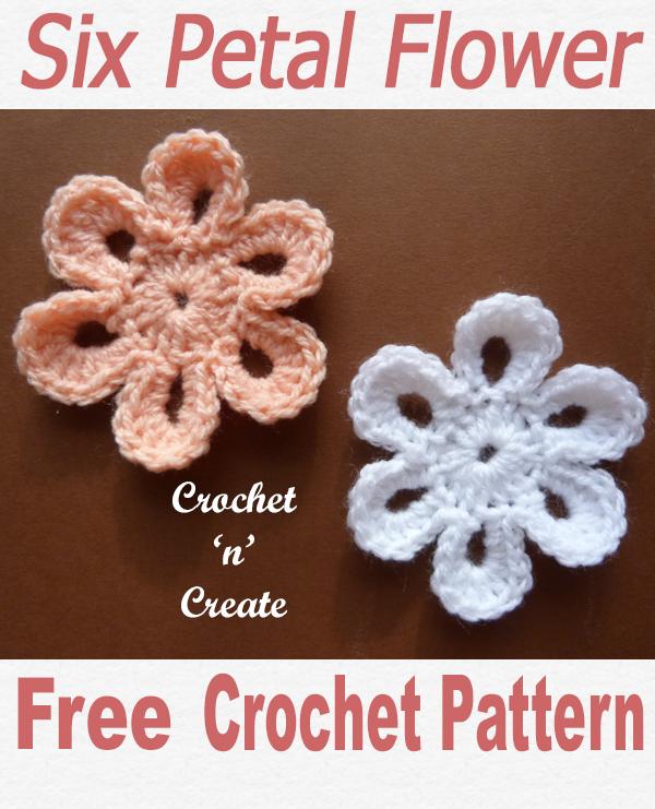 Crochet six petal flower