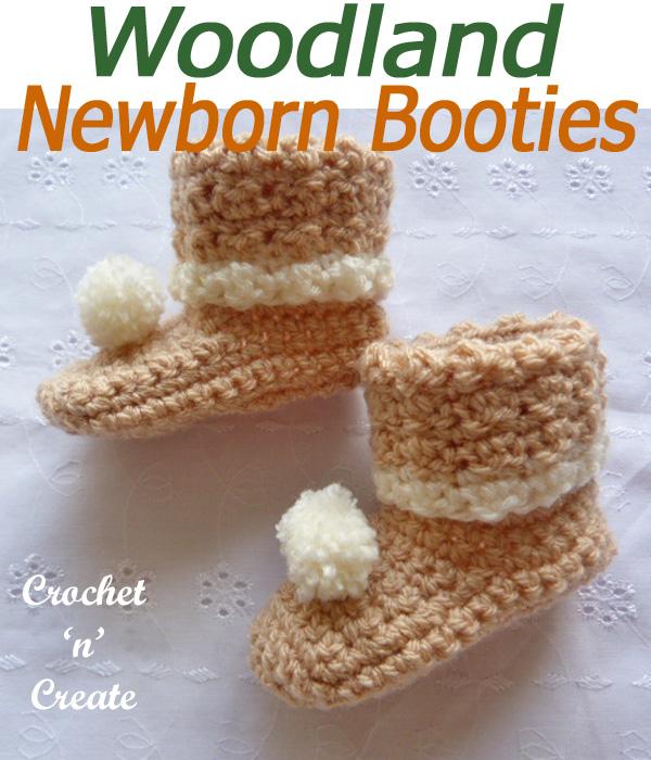 Woodland newborn booties