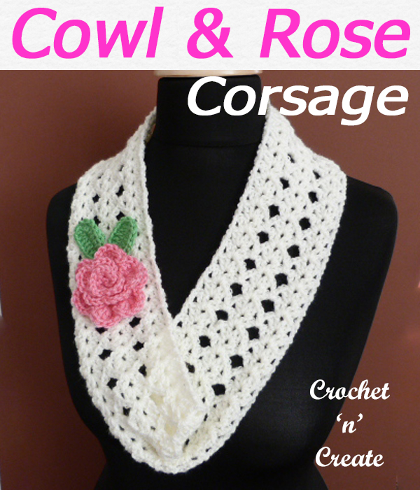 Wear the narrow cowl over a light sweater, it is decorated with a rose corsage, this free crochet pattern, make for gifts or yourself. CLICK and scroll down the page for the pattern. | #crochetcowl #crochetscarf #scarf #crochet #howto #crochetpattern #freecrochetpattern #easypattern #freepattern #forbeginners #diy #crafts #crochetaddict #followforcrochet