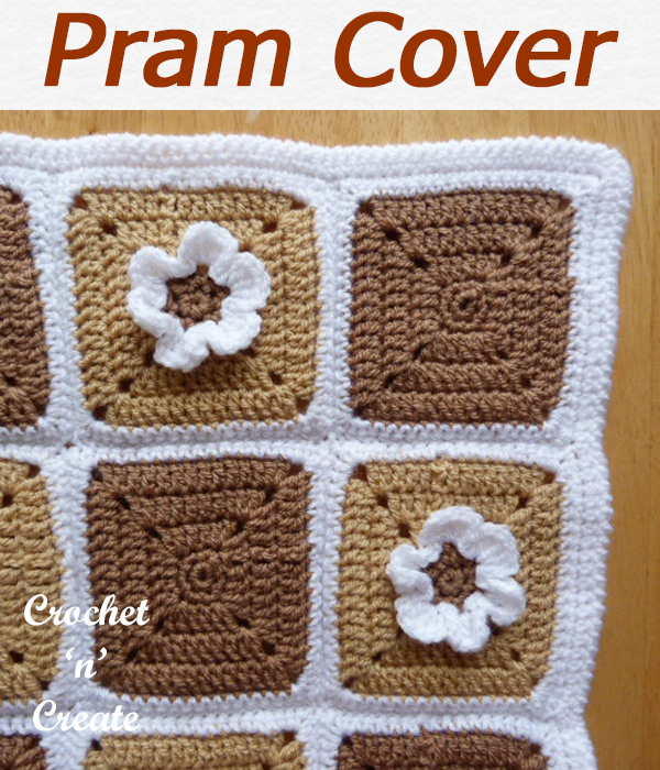 Free crochet baby pram cover blanket, to made bigger just crochet more squares. CLICK and scroll down the page for the pattern. | #crochetblanket #crochetbaby #crochetbabyblanket #crochetncreate #crochet #howto #crochetpattern #freecrochetpattern #easypattern #freepattern #forbeginners #diy #crafts #crochetaddict #followforcrochet
