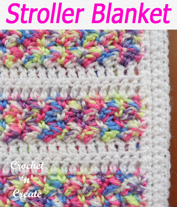 Made in an alternated variegated and plain color combination, this free crochet baby stroller blanket pattern is lovely when made. CLICK and scroll down the page for the pattern. | #crochetblanket #crochetbaby #crochetbabyblanket #crochetncreate #crochet #howto #crochetpattern #freecrochetpattern #easypattern #freepattern #forbeginners #diy #crafts #crochetaddict #followforcrochet