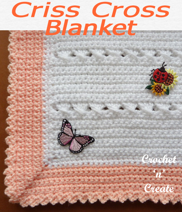 Part of my crisscross collection, this very simple free baby crochet blanket pattern is easy to make. CLICK and scroll down the page for the pattern. | #crochetblanket #crochetbaby #babyshawl #crochetbabyblanket #crochetncreate #crochet #howto #crochetpattern #freecrochetpattern #easypattern #freepattern #forbeginners #diy #crafts #crochetaddict #followforcrochet