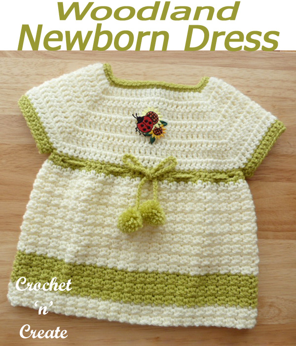 Woodland newborn dress