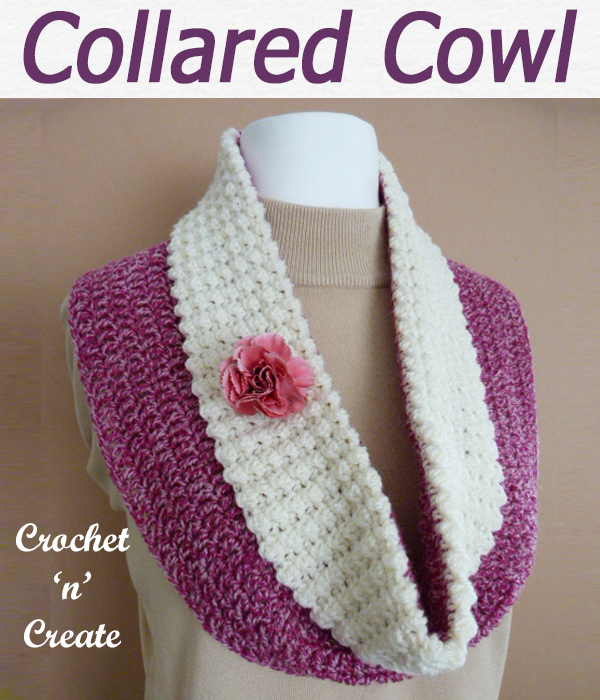 A free collared cowl crochet pattern, comfy to wear and there is also a matching pom-pom hat to go with it. CLICK and scroll down the page for the pattern. | #crochetcowl #crochetscarf #scarf #crochet #howto #crochetpattern #freecrochetpattern #easypattern #freepattern #forbeginners #diy #crafts #crochetaddict #followforcrochet