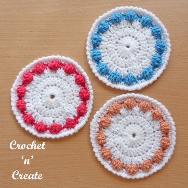 Crochet bobble edge coaster