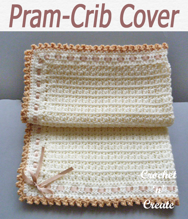 A picot edge pram or crib cover baby blanket, crochet this free baby crochet pattern for gifts, baby showers etc. CLICK and scroll down the page for the pattern. | #crochetblanket #crochetbaby #crochetbabyblanket #crochetncreate #crochet #howto #crochetpattern #freecrochetpattern #easypattern #freepattern #forbeginners #diy #crafts #crochetaddict #followforcrochet