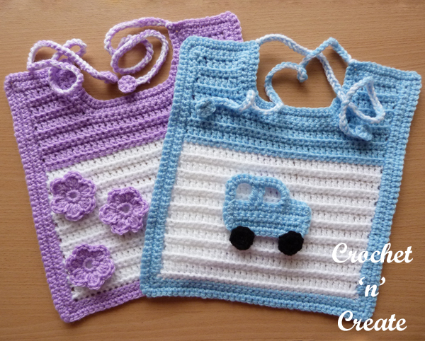 Crochet baby feeding bib