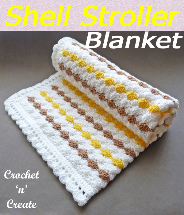A textured shell stitch stroller baby blanket, free baby crochet pattern for boy or girl just crochet in appropriate colors. CLICK and scroll down the page for the pattern. | #crochetblanket #crochetbaby #crochetbabyblanket #crochetncreate #crochet #howto #crochetpattern #freecrochetpattern #easypattern #freepattern #forbeginners #diy #crafts #crochetaddict #followforcrochet