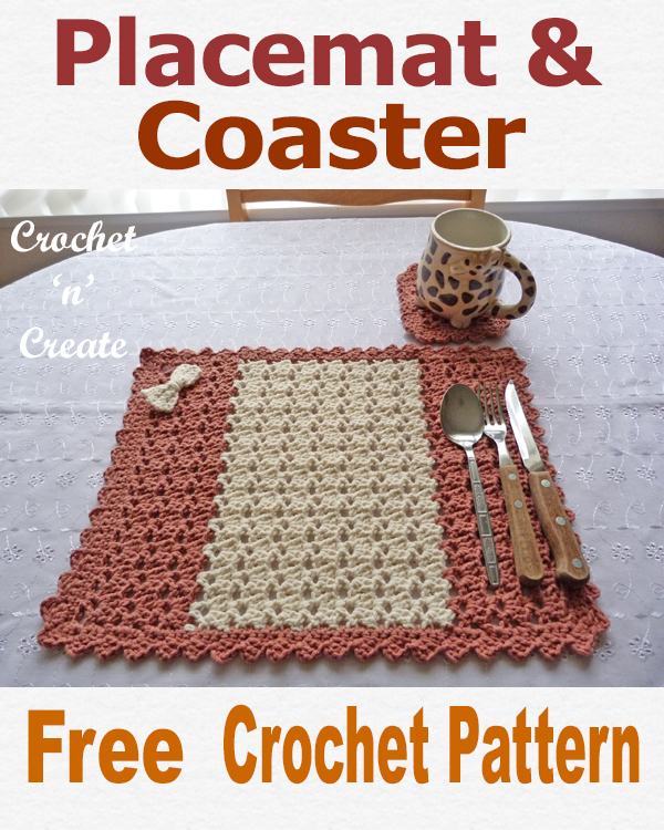 Crochet placemat-coaster Set