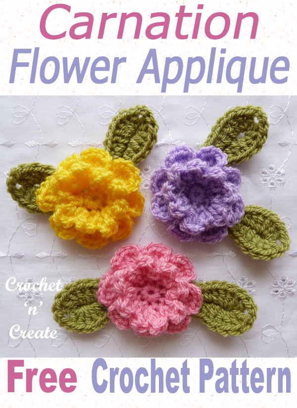 crochet carnation flower applique