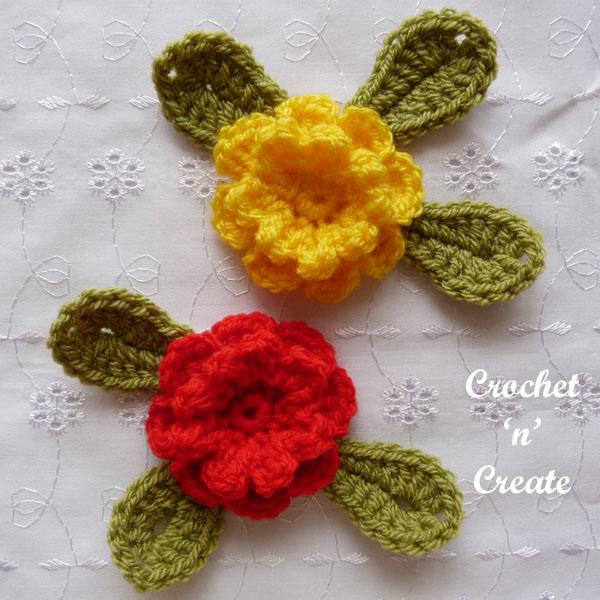 crochet carnation flower applique6
