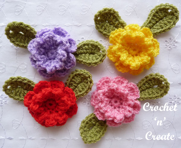 crochet carnation flower applique8