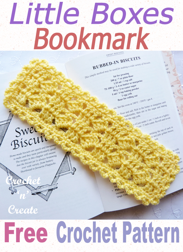 little boxes crochet bookmark