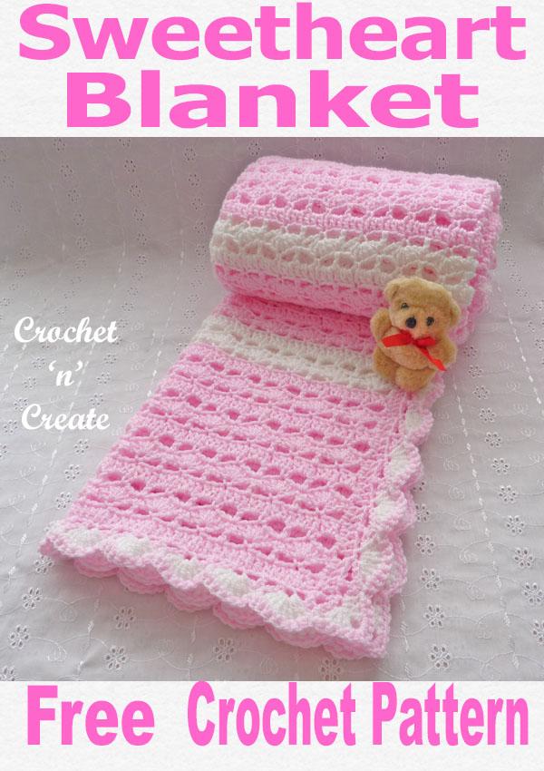 crochet sweetheart baby blanket