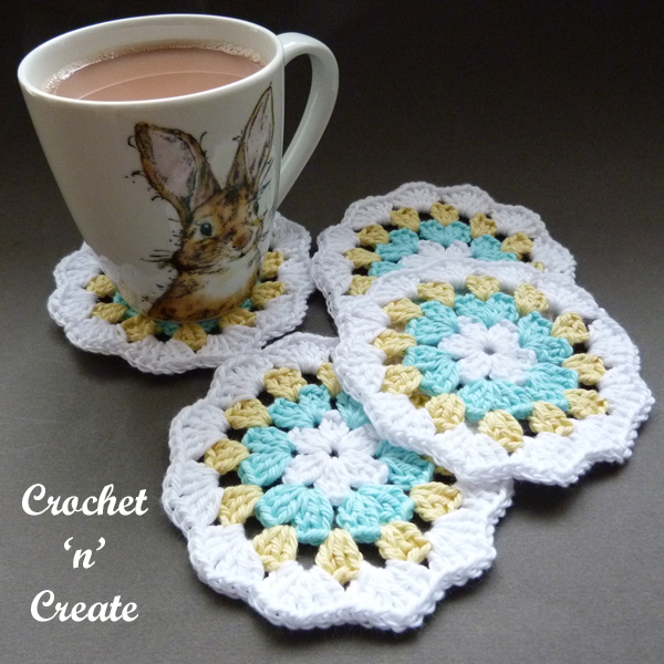 crochet cotton granny coaster