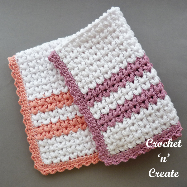 crochet puff stitch dishtowel