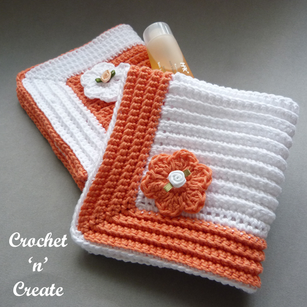 crochet ribbed bathroom washcloth