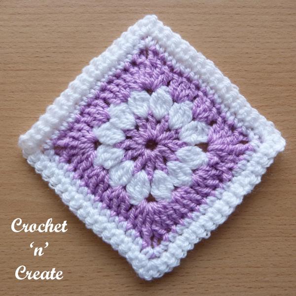 lilac crochet granny square