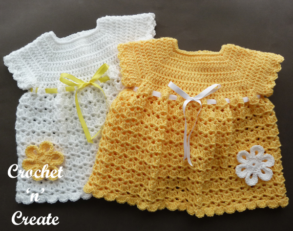 crochet v-shell baby dress