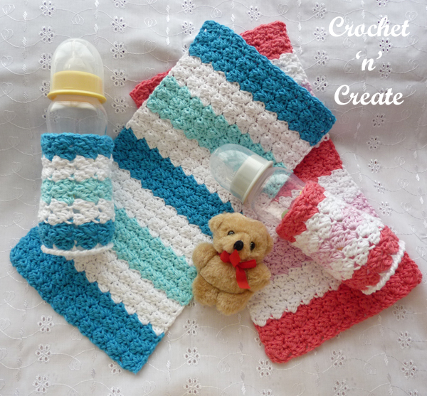 baby burp cloth and bottle cover