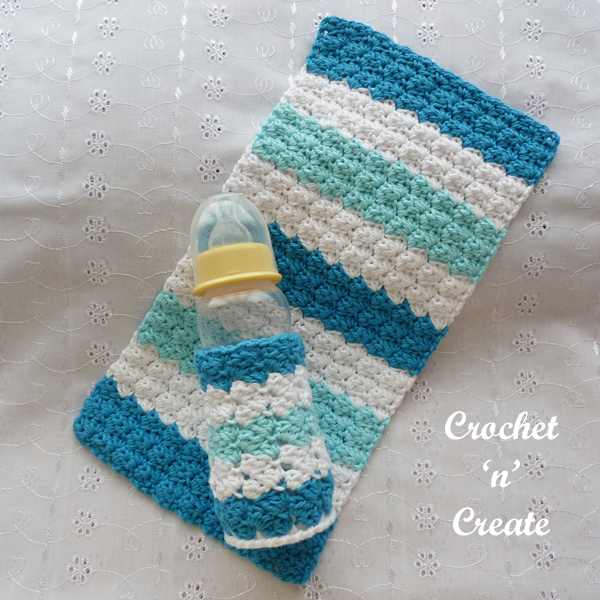 blue baby burp cloth and bottle cover