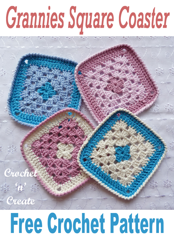 crochet grannies square coaster