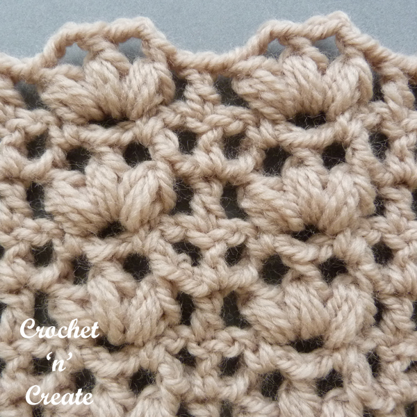 brown open puff crochet