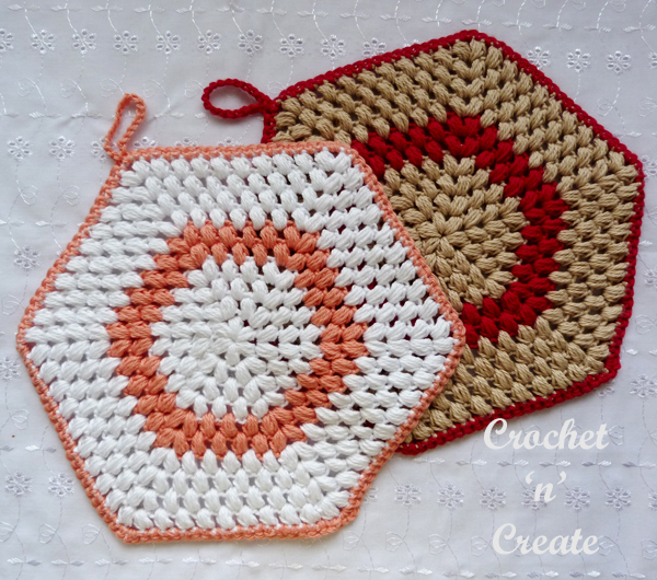 crochet puff stitch potholder