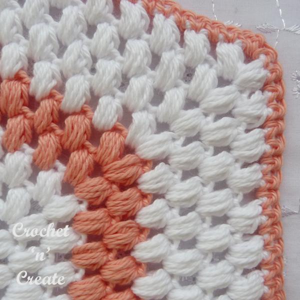 corner puff stitch potholder
