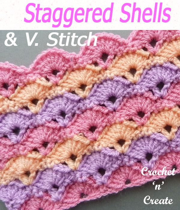 staggered shells & V-stitch