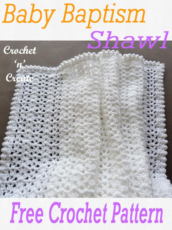 crochet baby baptism shawl