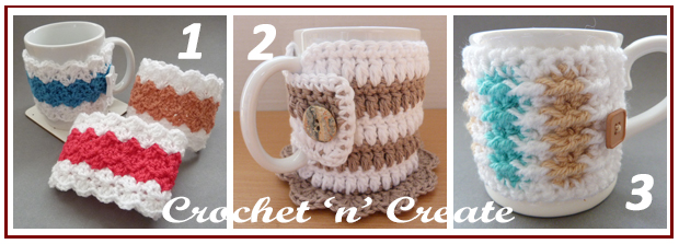 three across mug cozies