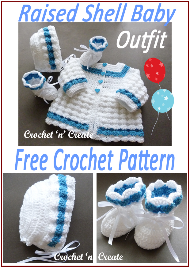 crochet raised shell baby outfit