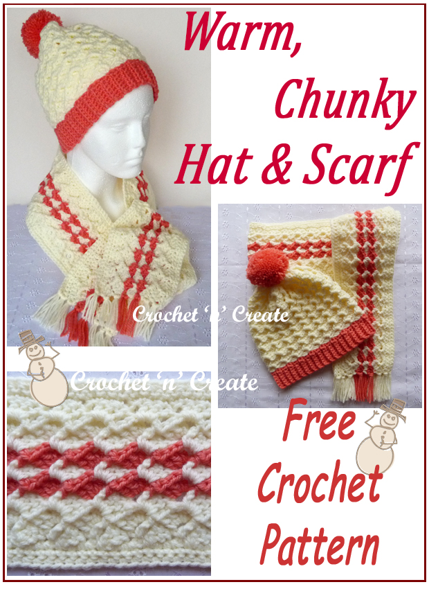 warm crochet chunky hat-scarf