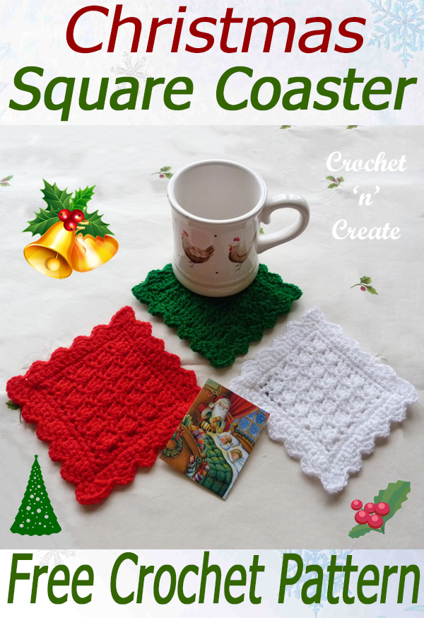 crochet christmas square coaster